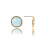 Sky Blue Bezel Stud Earrings