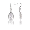 Rhodium Encrusted Cubic Zirconia Teardrop Dangle Earrings