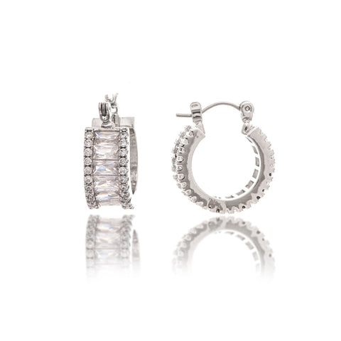 Rhodium Encrusted Cubic Zirconia Huggie Hoop Earrings