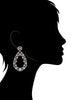 Rhodium Clad CZ Encrusted Dangle Drop Earrings