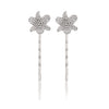 Rhodium Pave Organic Flower Hair Pin Set