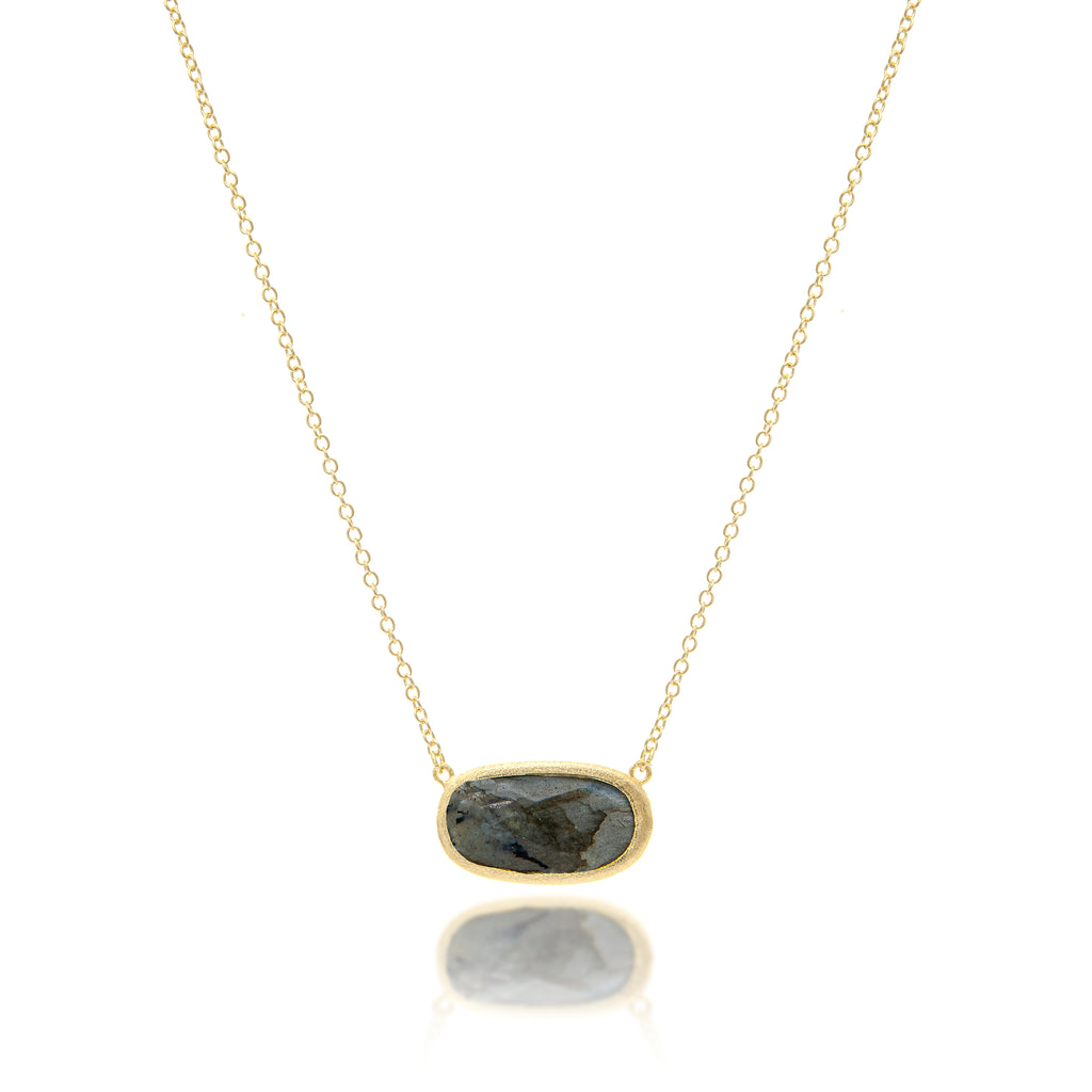 Labradorite Oval Station Necklace