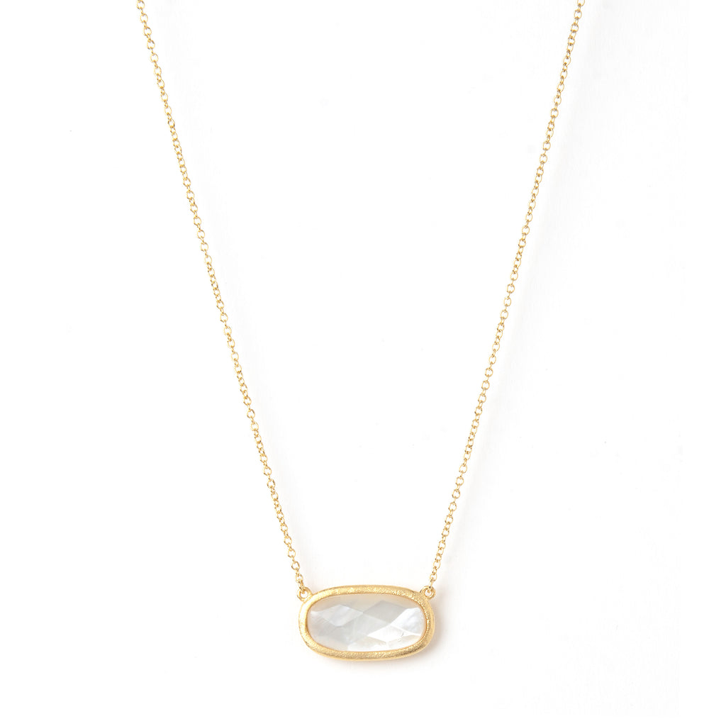 Mother of Pearl Oval Station Necklace