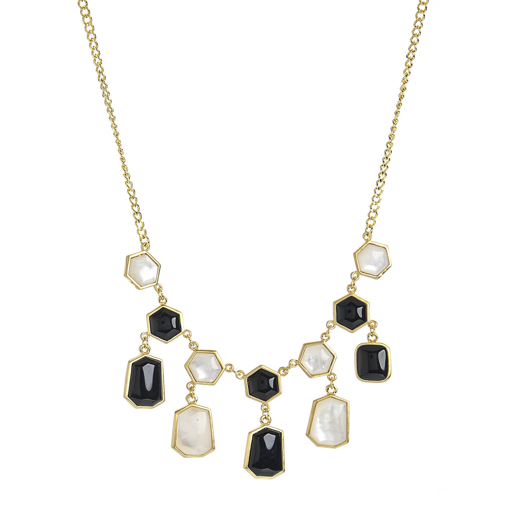 Onyx + Mother Of Pearl Statement Necklace