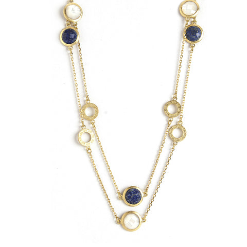 Lapis & MOP Round Logo Station Necklace
