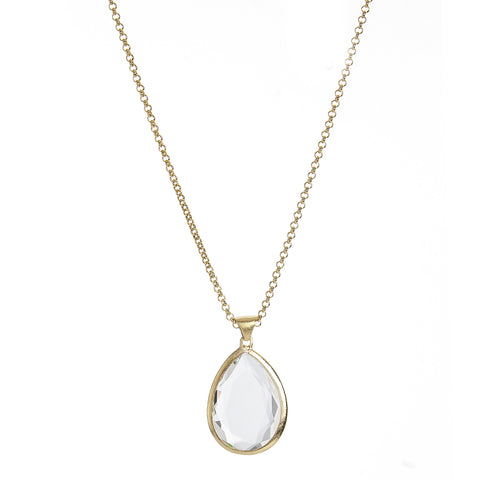 Rock Crystal Teardrop Pendant Necklace