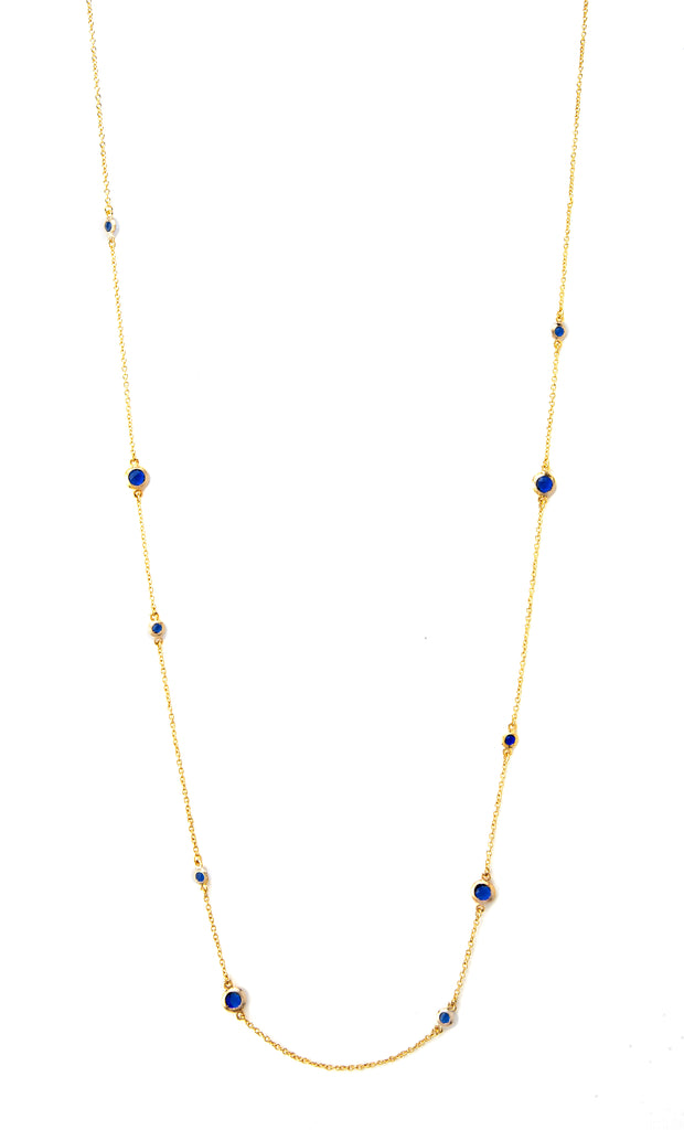 Poppy Blue Crystal Bezel Station Necklace