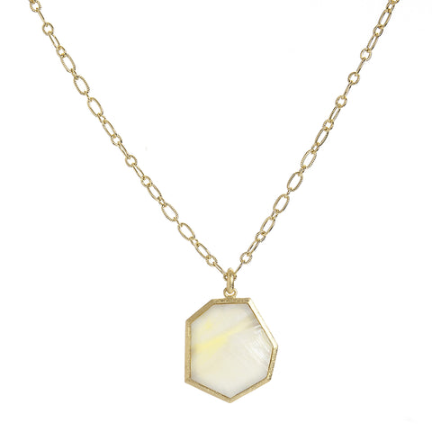 Golden Mother of Pearl Pendant Necklace
