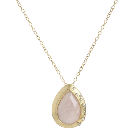 Rose Quartz + Simulated Diamond Pendant Necklace