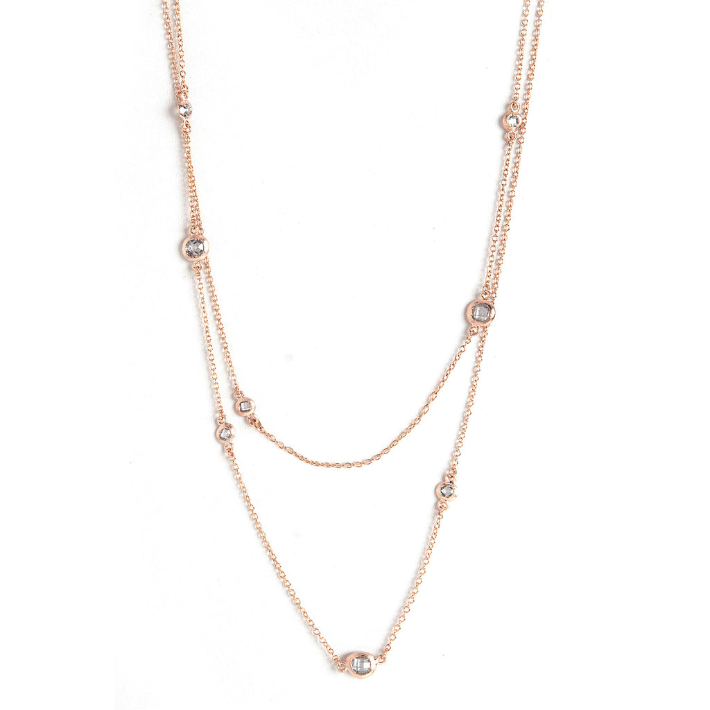 Rose Gold Simulated Diamond Station Necklace