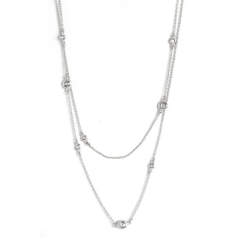 White Rhodium Simulated Diamond Station Necklace