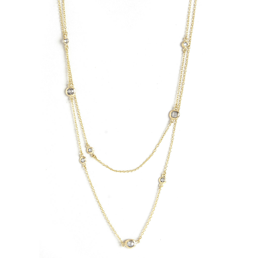 Simulated Diamond Station Necklace