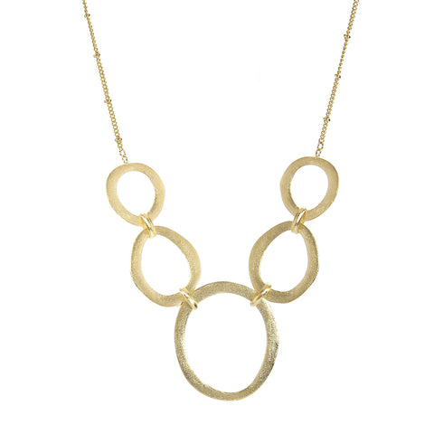Satin Oval Link Statement Necklace