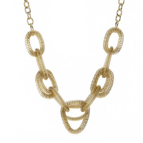 Mesh Oval Link Statement Necklace
