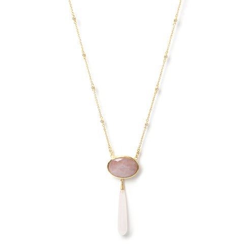Rose Quartz Drop Necklace - Closeout