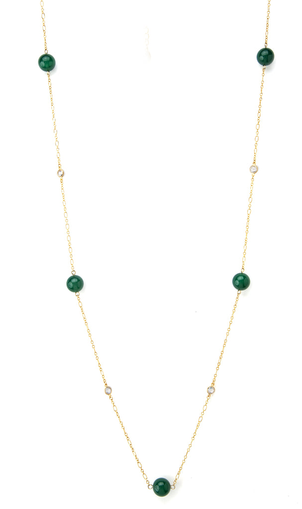 Green Onyx + Simulated Diamond Station Necklace