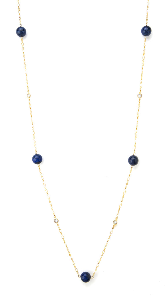 Lapis + Cubic Zirconia Station Necklace