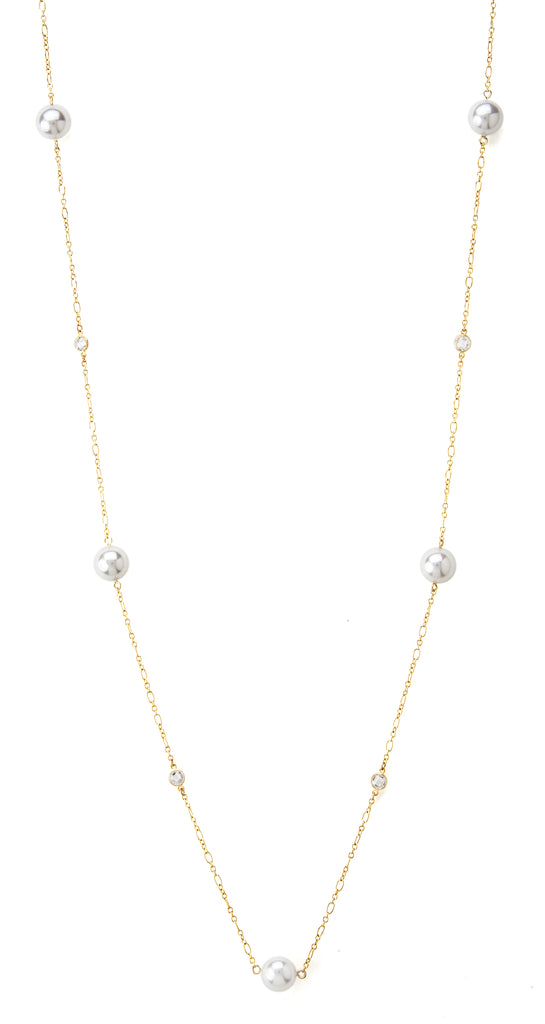 Mother of Pearl + Simulated Diamond Station Necklace