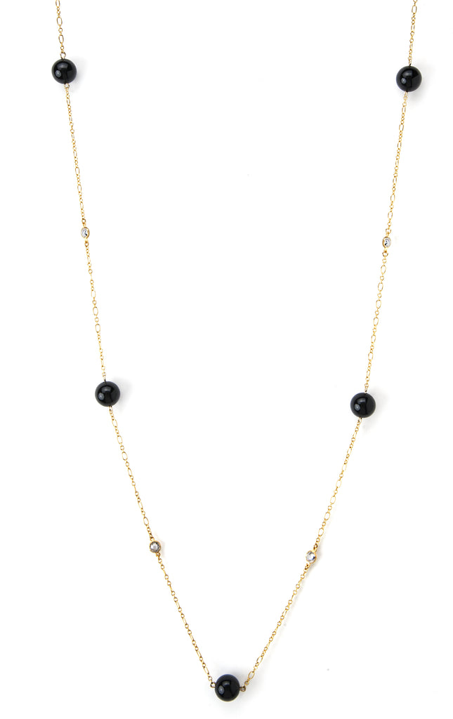 Onyx + Simulated Diamond Station Necklace