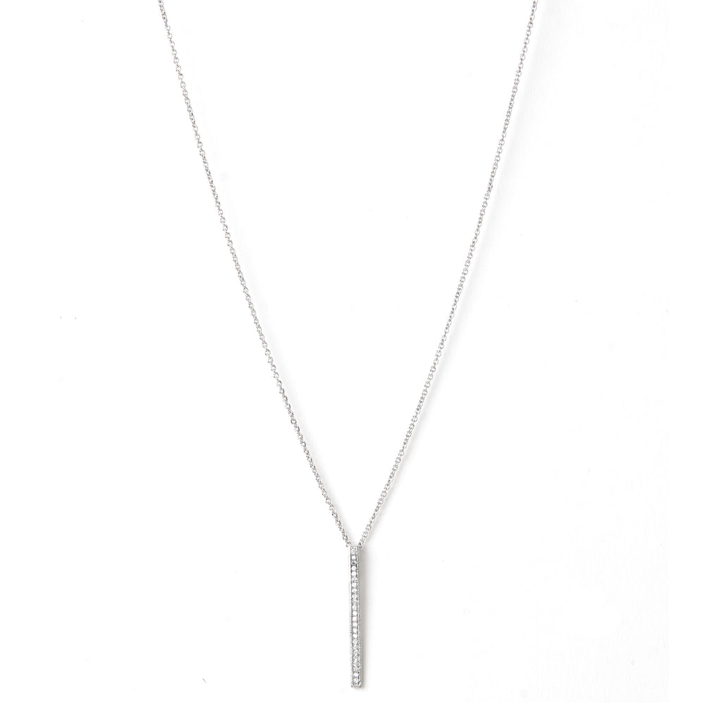 White Rhodium Simulated Diamond Bar Pendant Necklace