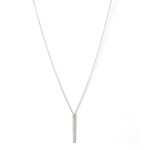 Rhodium Simulated Diamond Bar Pendant Necklace