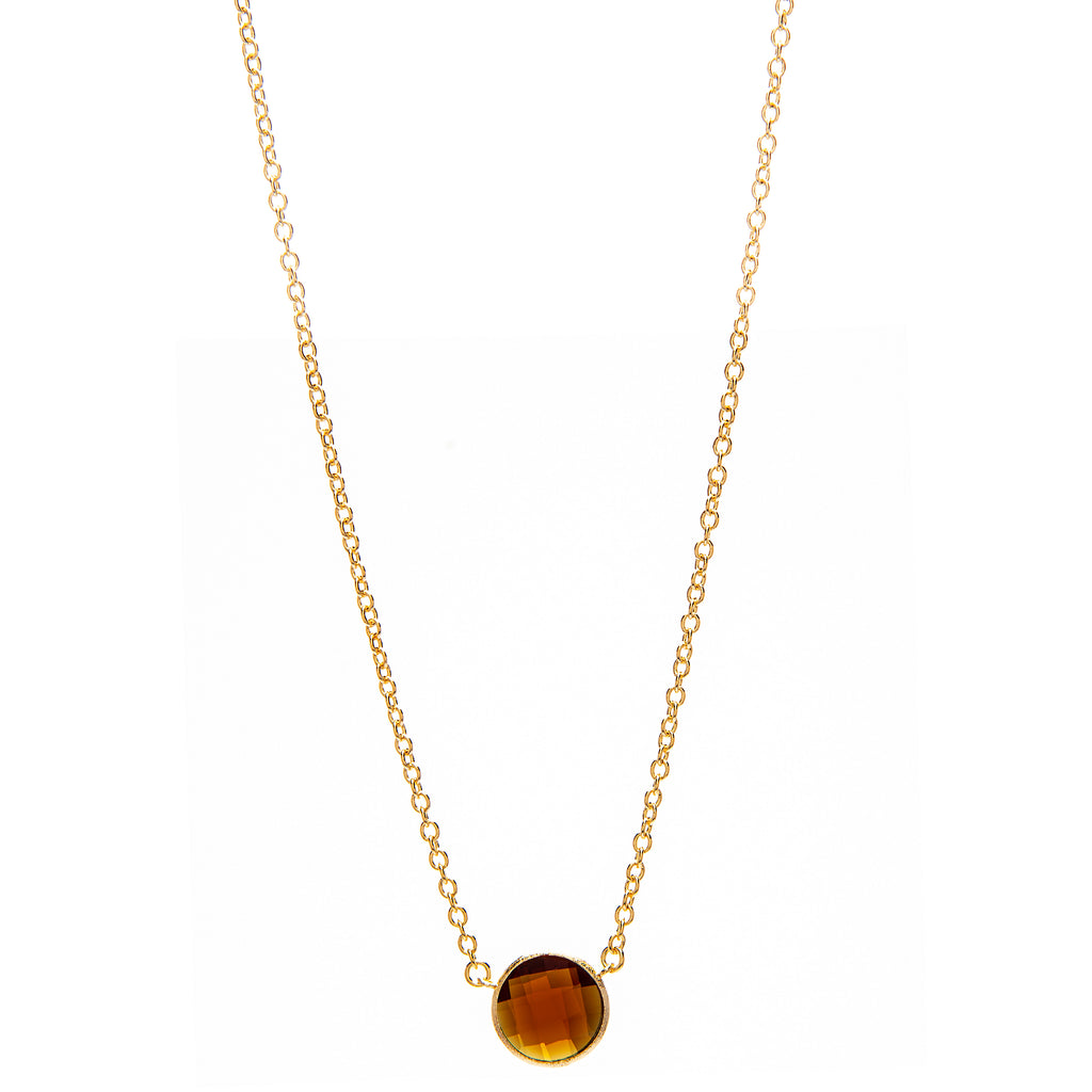 Round Faceted Amber Citrine Pendant