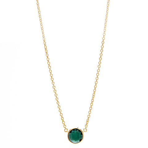Round Faceted Emerald Pendant