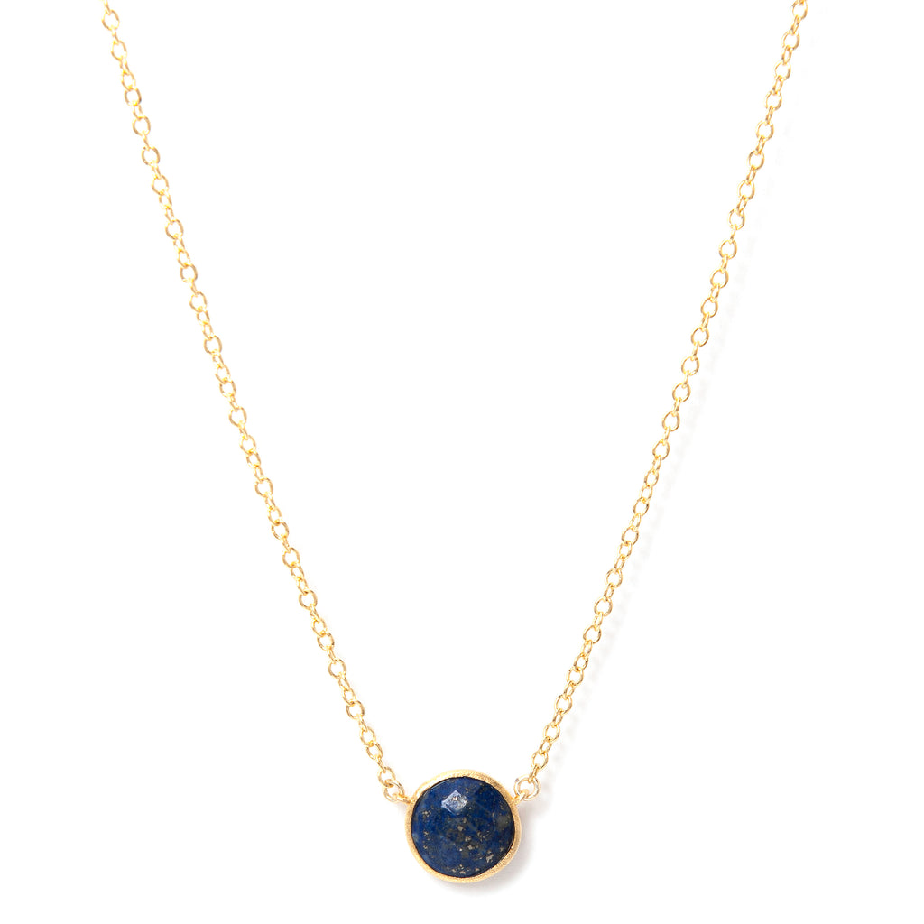 Round Faceted Lapis Pendant