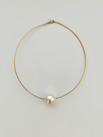 Synthetic Pearl Choker Necklace