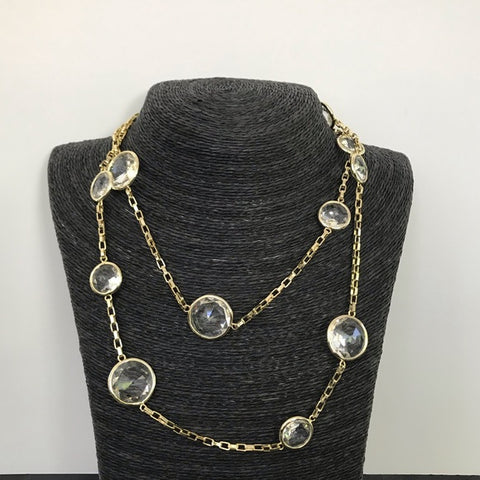 Rock Crystal Long Round Necklace - Closeout