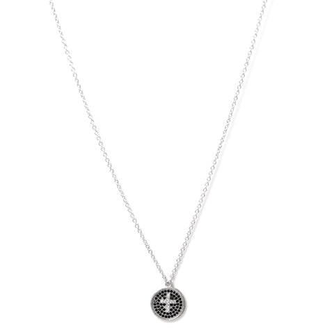 Rhodium Simulated Diamond Cross Disc Pendant Necklace - Closeout