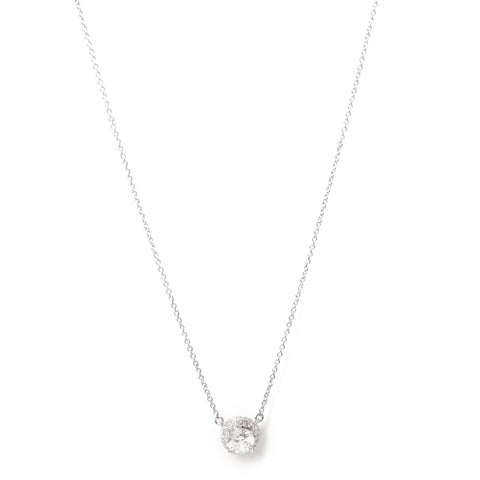 Rhodium Simulated Diamond Halo Pendant Necklace