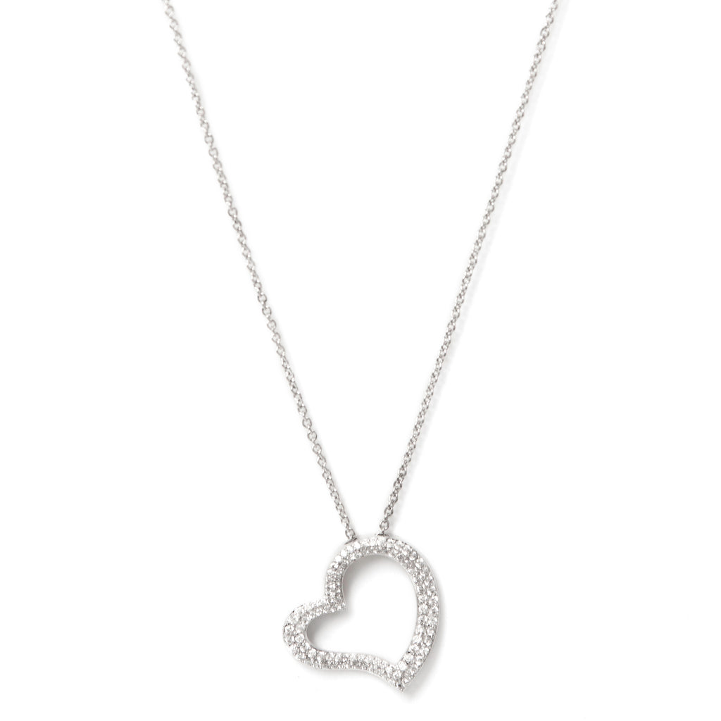 Rhodium Simulated Diamond Heart Pendant Necklace