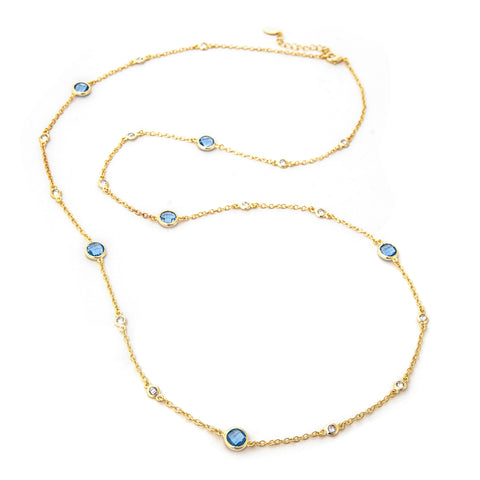 Simulated Diamond + Swiss Blue Station Necklace
