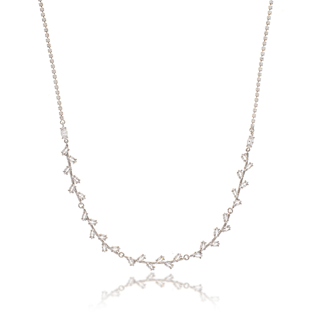 Rhodium Marquise CZ Line Necklace