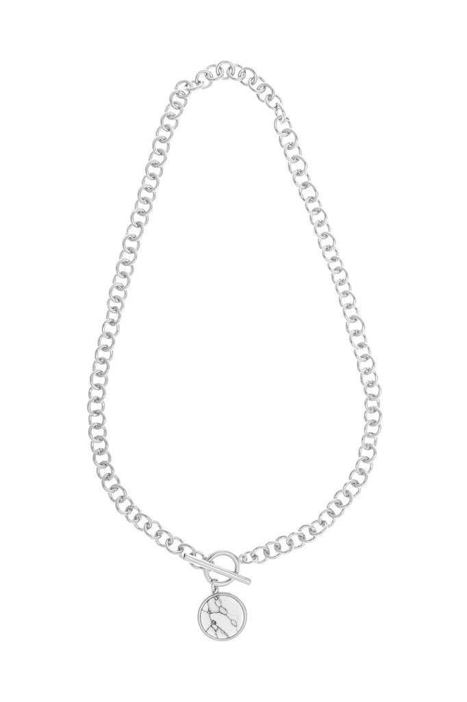 Rhodium Link Toggle & Charm Necklace
