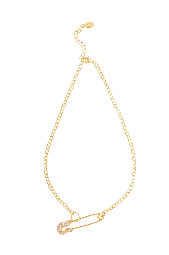 Cubic Zirconia Encrusted Safety Pin Chain Necklace