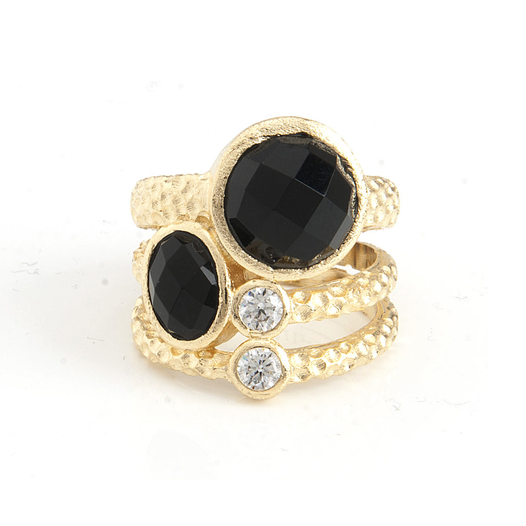 Black Onyx + Simulated Diamond  Stack Ring