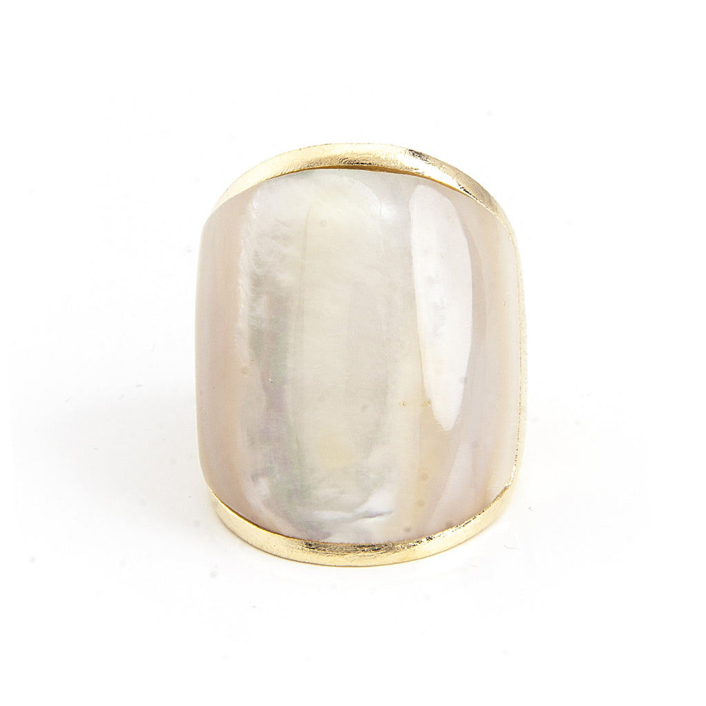 Mother Of Pearl Carved Inlay Cocktail Ring