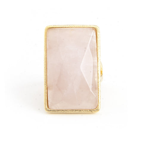 Rose Quartz Rectangle Cocktail Ring
