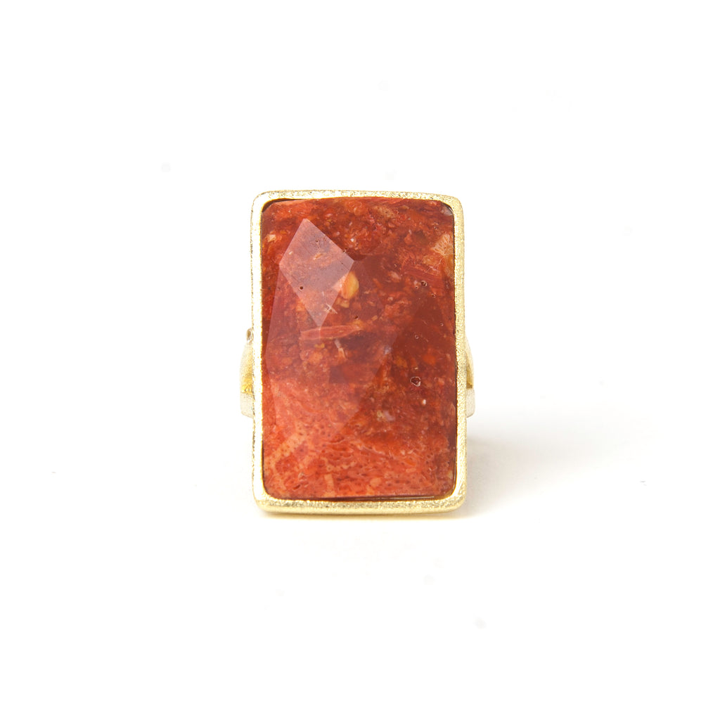 Coral Rectangle Cocktail Ring