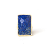 Lapis Rectangle Cocktail Ring