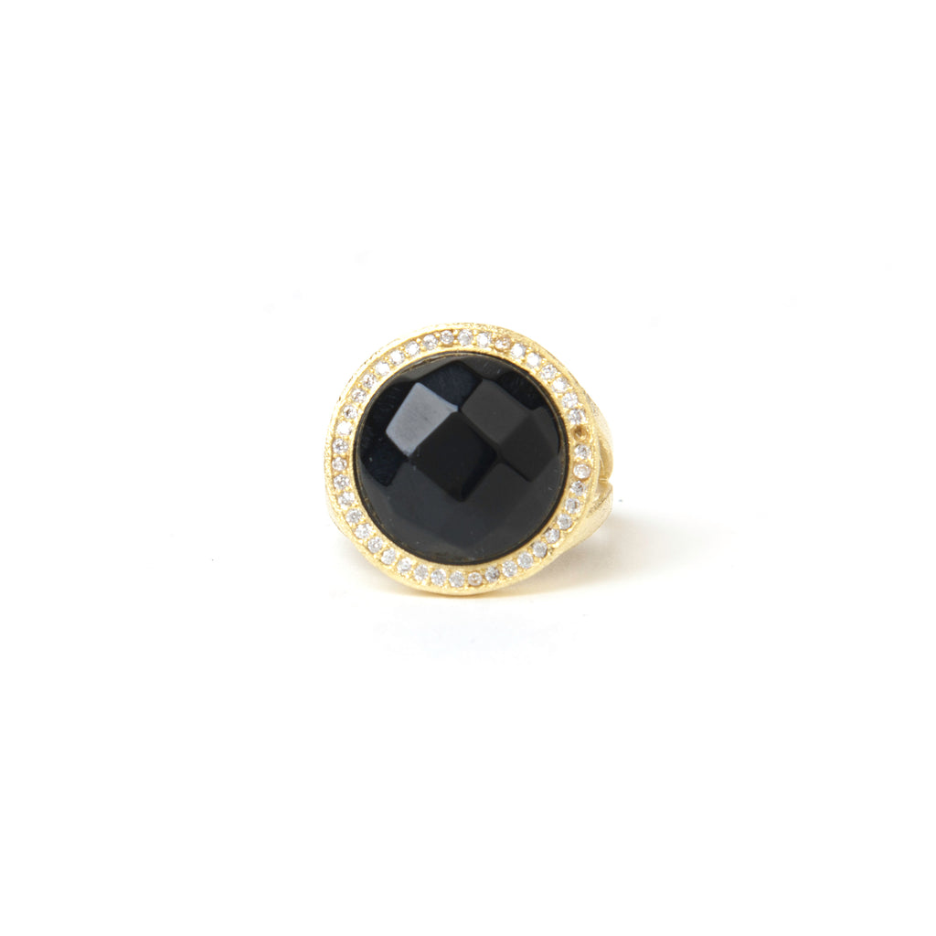 Onyx & Simulated Diamond Cocktail Ring