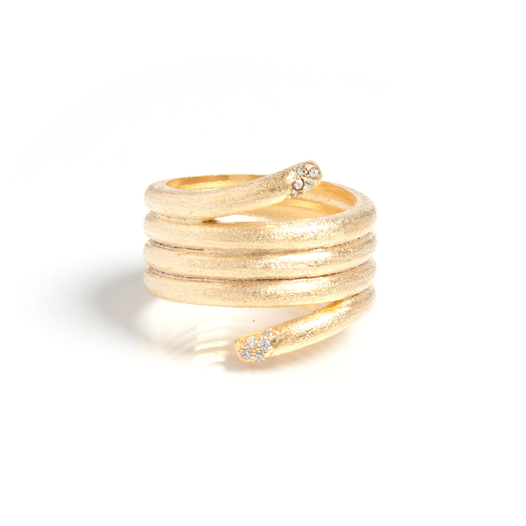 Satin Wrap Band Ring with Cubic Zirconia Accent