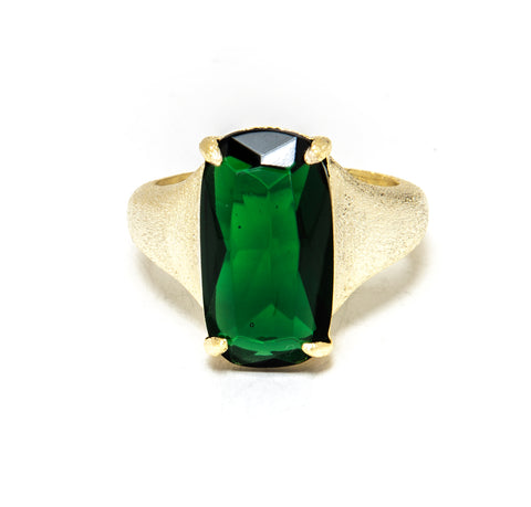 Emerald Rectangular Cocktail Ring
