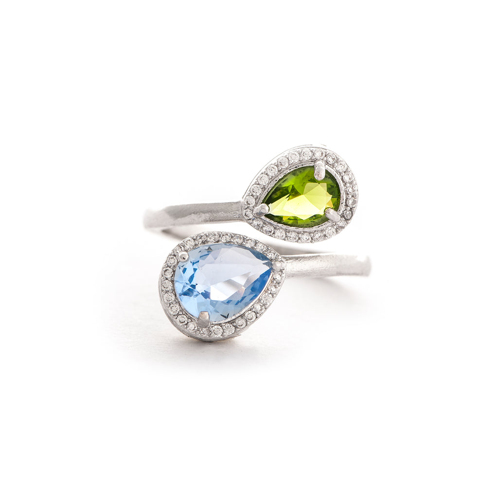 Swiss Blue + Peridot Bypass Ring