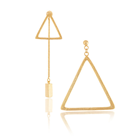 Felix + Lola Asymmetrical Satin Triangle Earrings - Closeout