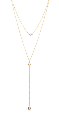 Felix + Lola Cubic Zirconia + Satin Bead Y Necklace - Closeout