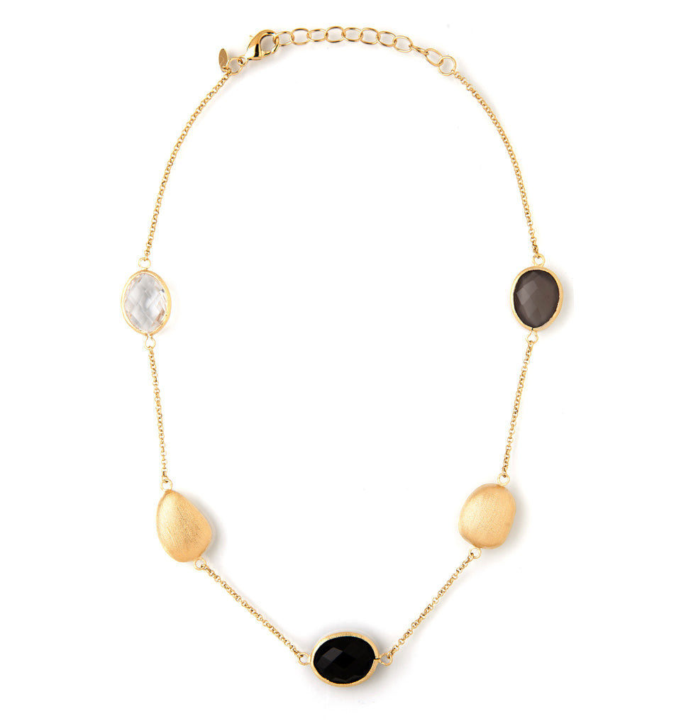 Rock Crystal + Onyx + Grey Chalcedony + Satin Pebble Station Necklace - Closeout