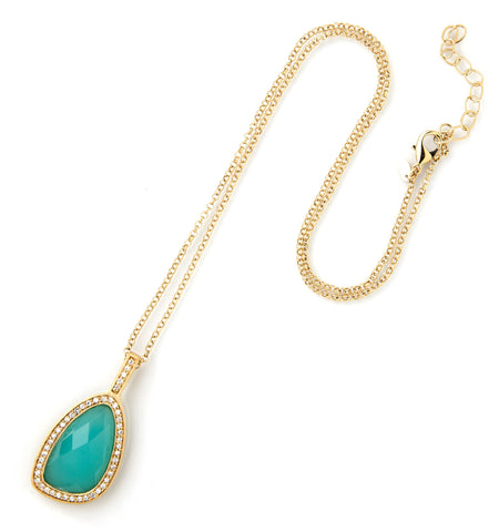 Mint Chalcedony + Simulated Diamond Pendant
